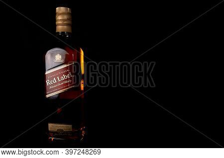 Burgas, Bulgaria- 30.11.2020: Photo Of A Botle Of Johnie Walker Red Label Whiskey.