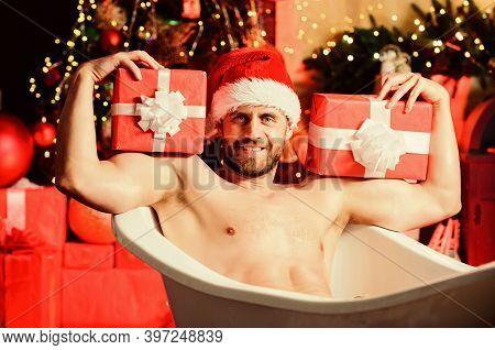 Powerful Santa. Happy New Year Gift. Erotic Wish. Feel Temptation. Sexy Mature Man Bath. Winter Holi