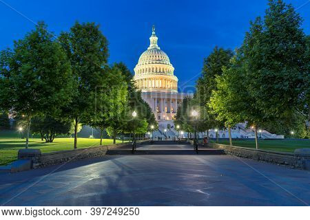 The United States Capitol Building At Night, Washington Dc, Usa.