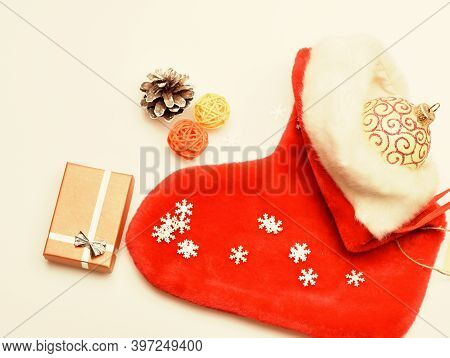 Fill Sock With Gifts Or Presents. Contents Of Christmas Stocking. Christmas Celebration. Christmas S