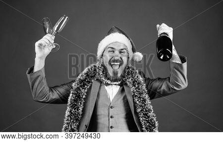 Join Christmas Celebration. Christmas Party Invitation. Man Bearded Hipster Santa Hold Bottle. Corpo