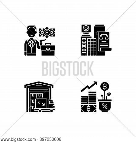 Commercial Business Black Glyph Icons Set On White Space. Trading And Financial Services. Businessma