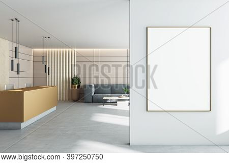 Modern Office Lobby Hall With Reception Desk, Sofa And Blank Poster On Wall. Presentation And Workpl