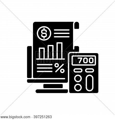 Bookkeeping And Audit Black Glyph Icon. Economic Management, Budget Assessment Silhouette Symbol On