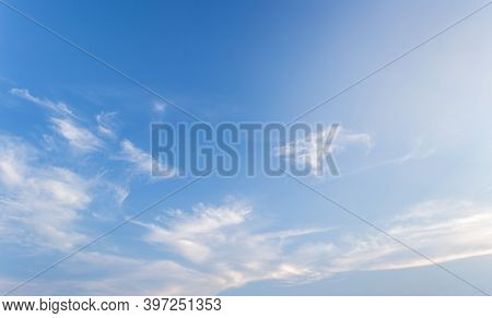 The Vast Beautiful Sky And Four Orange Clouds That Are Beautiful Sky Before Sunset. The Natural Sky