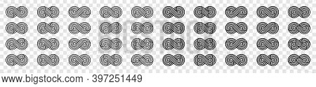Infinity Icon Set. Infinity Symbols. Unlimited Infinity Collection Icons Flat Style. Isolated Over B