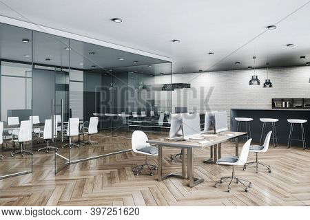 Modern Ceo Office Interior With Computers On Table And Boardroom With Meeting Table. 3d Rendering