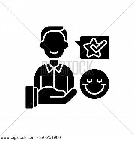 Customer Satisfaction Black Glyph Icon. Good Reputation Development, Satisfied Clients Positive Rati