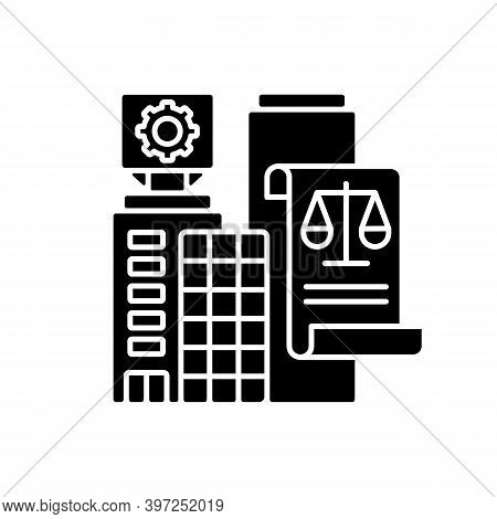 Legal Entity Black Glyph Icon. Modern Entrepreneurship, Business Office Rent Contract Silhouette Sym