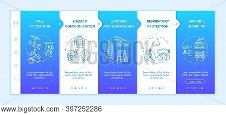 Top Workplace Safety Violations Onboarding Vector Template. Hazard Communication. Ladders And Scaffo