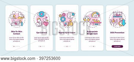 Breastfeeding Pros Onboarding Mobile App Page Screen With Concepts. Skin To Skin Contact With Baby W