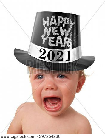 Crying Happy New Year baby wearing a top hat. Happy New Year 2021