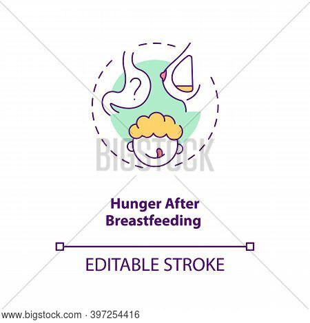 Hunger After Breastfeeding Concept Icon. Introducing Baby Food Requirements. Getting More Food. Heal