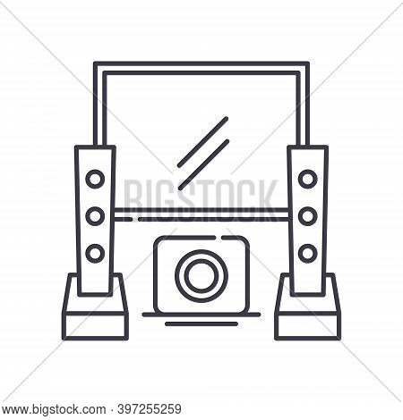 Home Theater Icon, Linear Isolated Illustration, Thin Line Vector, Web Design Sign, Outline Concept