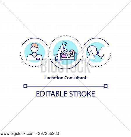 Lactation Consultant Concept Icon. Nursing Professional Idea Thin Line Illustration. Breastfeeding S