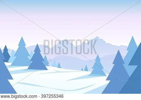 Winter Forest With Mountain Ridge At Sunset