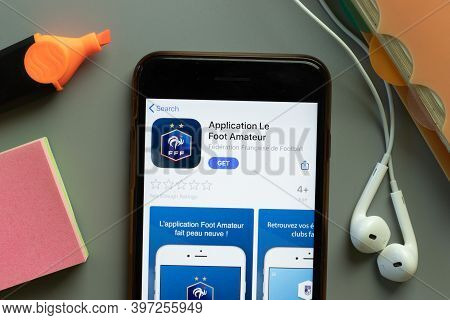 New York, Usa - 1 December 2020: Application Le Foot Amateur Mobile App Icon On Phone Screen Top Vie