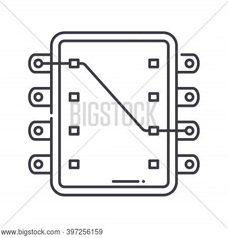 Ic Socket Icon, Linear Isolated Illustration, Thin Line Vector, Web Design Sign, Outline Concept Sym