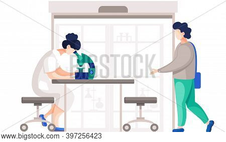 Professional Chemists In Their Lab Makes Different Experiments On The Table With Equipment. Female M