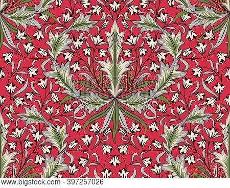 Floral Seamless Pattern With Big And Small Flowers On Red Background. Tulips, Foliage In Middle Ages