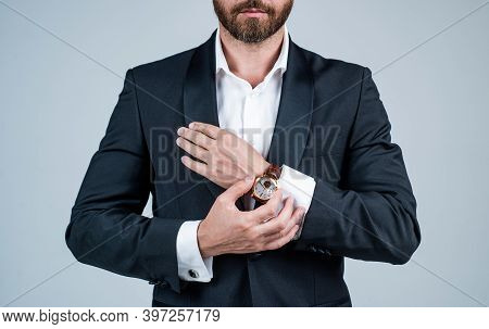 When Practical Watchmaking Becomes Pure Artistry. Male Watch Worn With Formal Suit. Wristlet Watch.