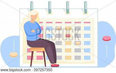 Offended Girl Sits On A Chair. The Woman Is Angry Because Of The Loss. Timetable Or A Calendar On Th