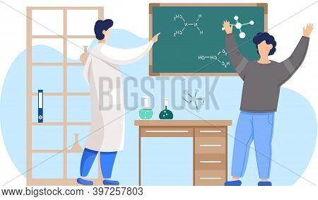 Science Teacher, Scientist Professor Standing With Chalkboard Teaching Student In Laboratory Classro