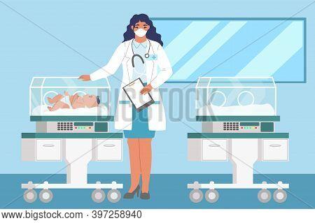 Female Doctor Standing Next To Newborn Baby In Incubator, Flat Vector Illustration. Neonatal Resusci