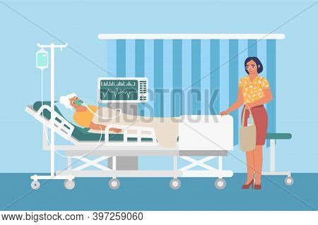 Resuscitation Medical Ward With Drip, Ventilator, Sad Woman And Patient In Hospital Bed, Flat Vector