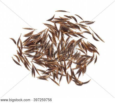 Cosmos Flower (cosmos Bipinnatus) Seeds Isolated Over White Background. View From Above