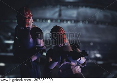 NOV 25 2020: members of the 332nd Tano division Clone Troopers at the siege of Mandalore - Hasbro action figure
