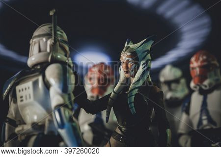 NOV 25 2020: Jedi Ahsoka Tano speaks to Captain Rex with 332nd Clone Troopers aboard a Republic cruiser - Hasbro action figures
