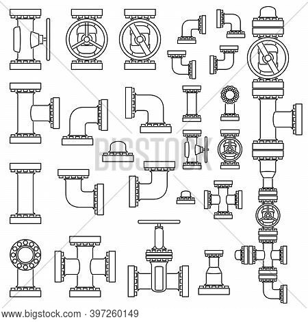 Set Of Simple Vector Black And White Image Of Pipeline Elements Drawn In Line Style.