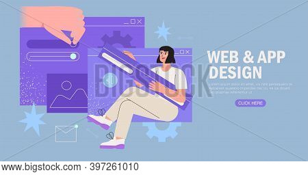 Designers Working On Website Or Application, Ui Ux Design And Programming. Creative Team Doing Resea