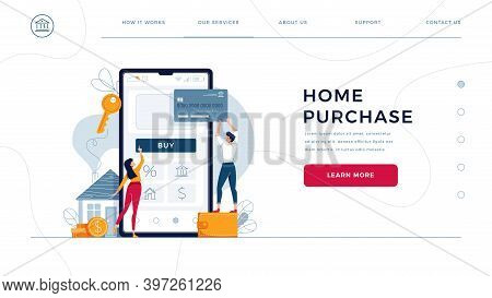 Home Purchase Online Homepage Template. Family Buys New House, Touching The Button On Phone, Paying
