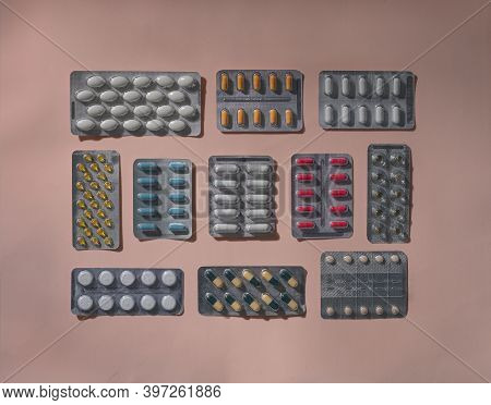 Closeup Capsule And Pills In Blister Pack. Antimicrobial Drug Resistance. Pharmaceutical Industry. G
