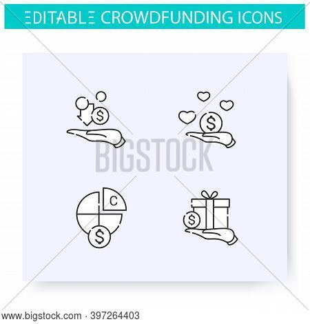 Crowdfunding Line Icons Set. Profit Sharing. Donation Funds Types. Funding And Investment Concept. P