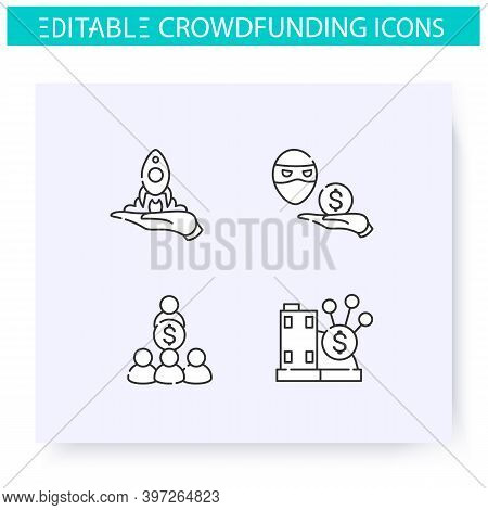 Crowdfunding Line Icons Set. Real Estate Fund. Startup Launching. Funding And Investment Concept. Pr