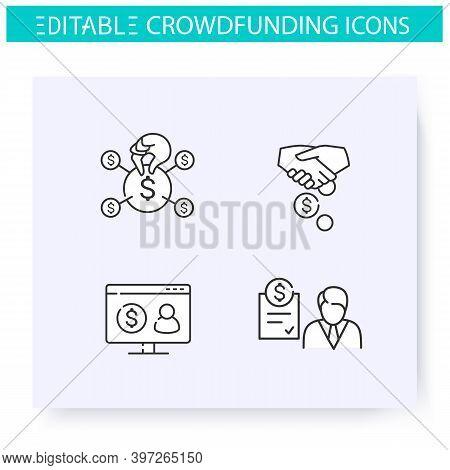 Crowdfunding Line Icons Set. Community Funding. Sponsorship. Donation Platform. Funding And Investme