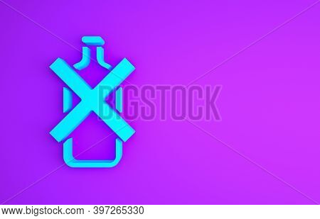 Blue No Alcohol Icon Isolated On Purple Background. Prohibiting Alcohol Beverages. Forbidden Symbol