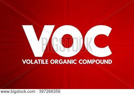 Voc - Volatile Organic Compound Acronym, Concept Background