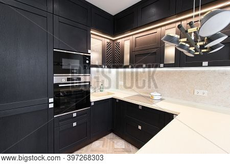 Modern Kitchen Made Of Solid Black . The Kitchen Is Of Solid Oak . Kitchen Details. Modern Kitchen F