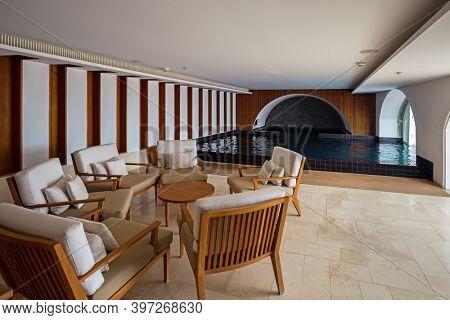 SVETI STEFAN, MONTENEGRO - SEPTEMBER 09: Pool interior in island hotel on September 09, 2015 in Sveti Stefan Montenegro.