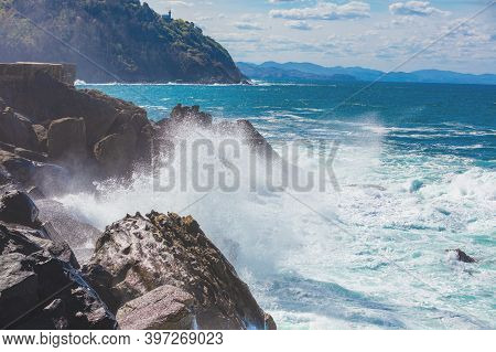 Landscape With Sea And Cliffs. Rocky Seashore On A Sunny Day. Beautiful Nature, Landscape, Stormy Se