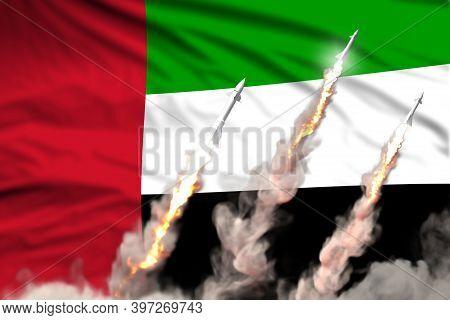 Modern Strategic Rocket Forces Concept On Flag Fabric Background, United Arab Emirates Ballistic Mis
