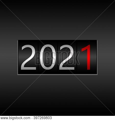 2021. New Year Black Odometer On Black Background - New Year 2021 Design, Odometer Style With White