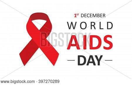 World Aids Day 1 December Banner. Red Hiv Ribbon Awareness. Vector Illustration Eps10