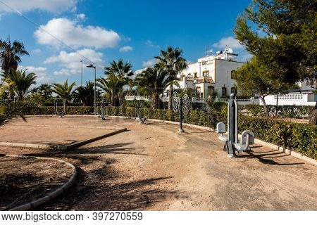 Exercise Equipment For Public Use, Outdoors In Spanish Park Area