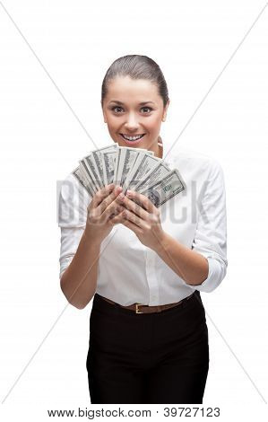 smiling young business woman holding money