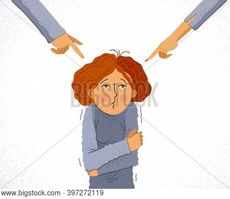 Adult Man And Woman Blames And Shames Young Woman Or Teenager Girl, Vector Concept Of Shaming And Bl